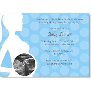 Blue Ultrasound Baby Shower Invitations