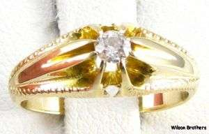 1800s DIAMOND ENGAGEMENT RING   14k Yellow Gold .10ct Mine Cut