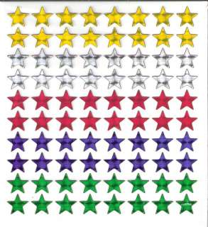 80 prism Star Stars yellow red blue green silver stickers w/ gold