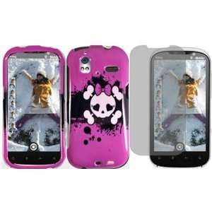 Pink Skull Hard Case Cover+LCD Screen Protector for HTC