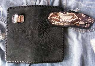 Nice CUSTOM SHARK & PYTHON SKIN LEATHER MENS BIFOLD ROCKER BIKER