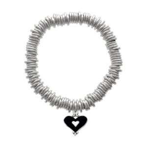 White Enamel Heart Charm Silver Plated Charm Links Bracelet [Jewelry