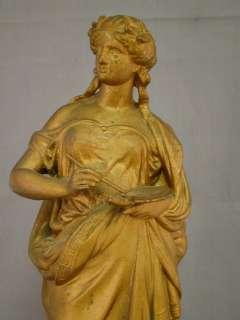 19thC Antique VICTORIAN SPELTER Figural GREEK ARTIST Lady MANTLE