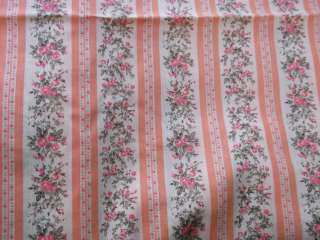 Quilting Fabric~Melon~Coral~Hippie~Flowers~Stripes~Pink~2 yds