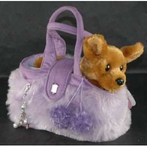 Aurora Fancy Pals Stuffed Plush Pet Chihuahua Carrier Purple Purse NEW