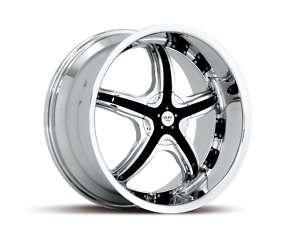 19 x8.5 Ruff Racing R931 Chrome And Black Wheels Rims
