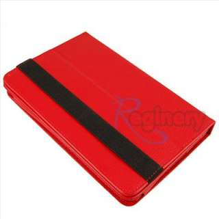RED 360 Degree Rotary Leather Case Stand Cover for 7  Kindle