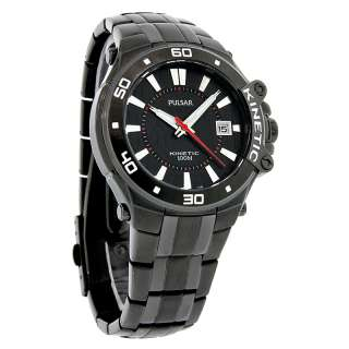 NEW Pulsar by Seiko Kinetic Mens Tech Gear Black PVD Tuxedo Dress