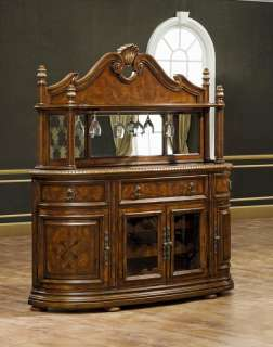 Antiqued Walnut Jacobean China Cabinet Hutch