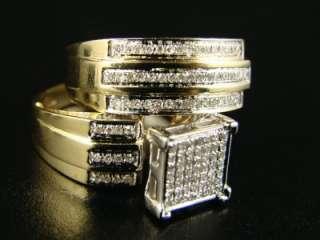 YELLOW GOLD LADIES + MENS WEDDING BAND ENGAGEMENT DIAMOND TRIO SET