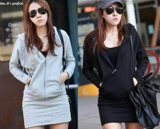 Korean Womens Zip Up Hooded Sweatshirt Mini Dress Long Sleeves Blouse