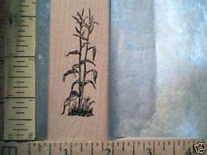 CORN STALK FARMING MAIZE sm WOOD MOUNTED rubber stamp