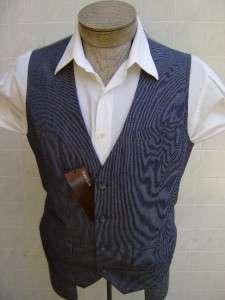 Perry Mens Dress Vest L Pinstripe Suit Coat Tuxedo Blue Ink White