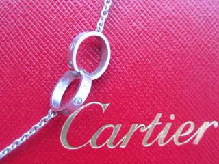 CARTIER LOVE 18K WHITE GOLD 2 RING NECKLACE