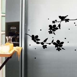 FLOWERING TREE Wall Sticker Removable Vinyl Decal Black