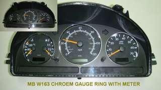 MERCEDES BENZ W163 ML CLASS CHROME GAUGE DASH RING DIAL