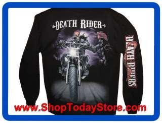 Motorcycle Biker Chopper Gothic Long Sleeve Men Moto Motard Motorrad
