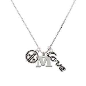 Large Silver Initial   M, Peace, Love Charm Necklace [Jewelry