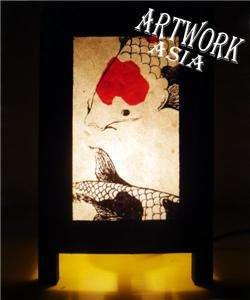 of 2 x 8 inch Asian Table Bedside Lounge Lamp Koi Carp Fish Art Deco