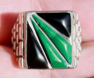 Handmade Large Old Zuni Sterling Silver & Onyx & Turquoise Ring |
