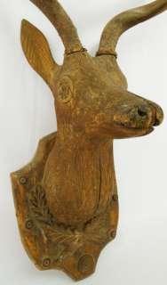 19th C. Large Black Forest Folk Art Carved Deer Head Mount Figure