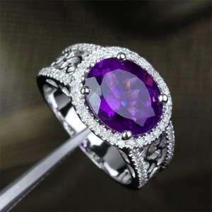 Purple AMETHYST .45ct DIAMOND 14K WHITE GOLD Engagement Wedding RING
