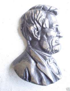 Cast Iron Abraham Lincoln Bust Wall Hanging LOOK