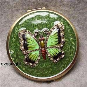 Compact Mirror Green Enamel Jewels Round w/ BUTTERFLY