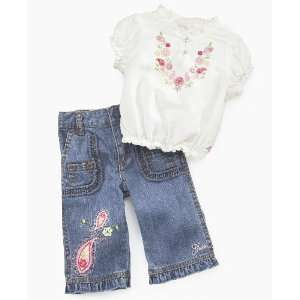 Guess? Baby Girl Peasant Top & Jeans Set White 6 9 months