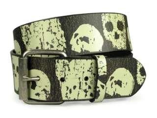 On Skull and Cross Bone Art Work Leather Belt   Interchangeable buckle