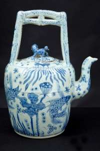 LARGE BLUE AND WHITE ORNAMENTAL CHINESE TEA POT