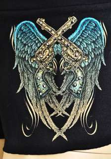 feature crystal pistols with angel wings tattoo graphic print on the