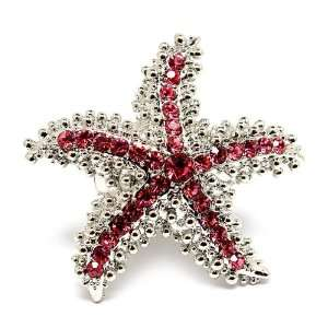 Sea creature Starfish bling Crystal Cocktail ring