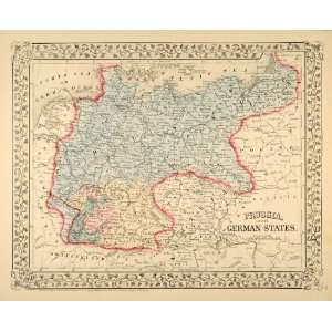 Map Prussia German States Germany Bavaria Antique   Original Print Map