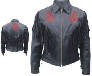 LADIES RED ROSE BLACK LEATHER MOTORCYCLE BIKER JACKET