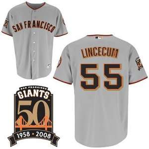 Tim Lincecum Authentic San Francisco Giants Road Jersey