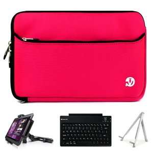 Hot Pink Neoprene Sleeve Carrying Case Cover for Archos 101 G9 Turbo