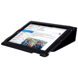iPad 2 Magnetic Smart Cover Leather Case Stand Black