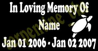In Memory Of Custom Vinyl Decal Sticker 15 Options   D