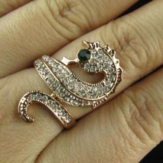 Green Eye sea horse rose gold GP Crystal finger Ring