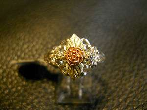 Ladies Black Hills Gold on Silver Rose Ring