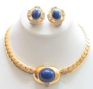 Vintage CINER Gold Plate Rhinestone Necklace & Earrings