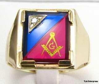 MASONIC 14K Gold **Blue & Red** Stone Master Mason RING