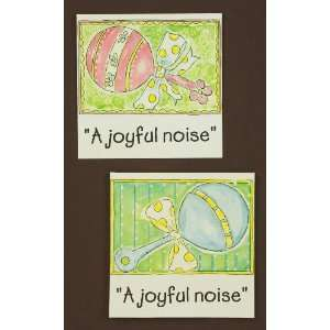 Pink A joyful noise Tin Art, Set of 2 by Tripar