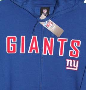 New York GIANTS NFL Blue HOODIE JACKET with NY PATCHES L