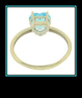 Ladies 10K White Gold Swiss Blue Topaz Heart Fashion Ring