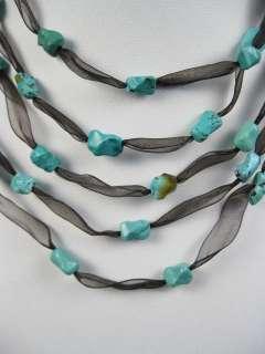 DESIGNER Satin Multi Strand Turquoise Beaded Necklace