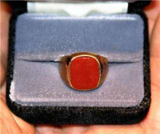 Mens Carnelian Agate stone Ring 14K Gold plated sz 12. 5 Vintage 70s