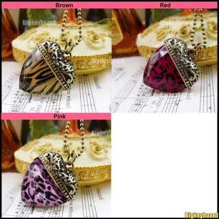 Cute Red/Pink/Coffee Leopard Zebra Peach Heart Pendant Necklace