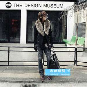 Winter Fashion Men Casual fur collar Double breasted Jacket Coat JA407